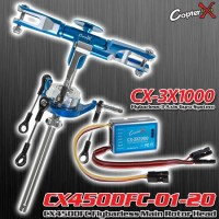 CopterX (CX450DFC-01-20-CX-3X1000) CX450DFC Flybarless Main Rotor Head (Blue) with CopterX CX3-X1000 Flybarless Gyro Combo