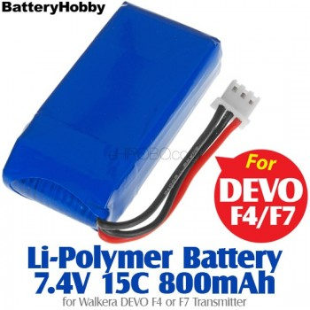 BatteryHobby (BH7.4V15C800) Li-Polymer Battery 7.4V 15C 800mAh for Walkera DEVO F4 or F7 TransmitterWalkera QR X350 Parts