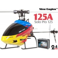 Nine Eagles (NE-R/C-125A-SOLO-PRO-RY-CASE) SOLO PRO 125 6CH Flybarless Micro Helicopter with J6 PRO Transmitter and Aluminum Carrying Case RTF (Red-Yellow) - 2.4GHz