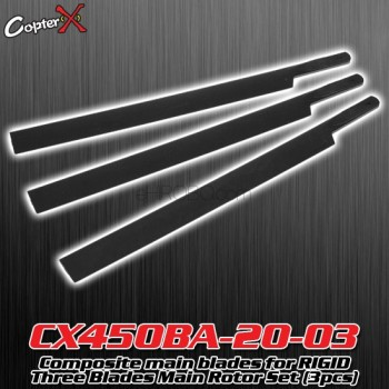 CopterX (CX450BA-20-03) Composite main blades for RIGID Three Blades Main Rotor Set (3pcs)Flybarless / Multi-blades