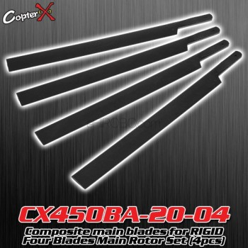 CopterX (CX450BA-20-04) Composite main blades for RIGID Four Blades Main Rotor Set (4pcs)Flybarless / Multi-blades