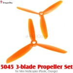 DragonSky (DS-PROP-3-5045-O) 5045 3-blade Propeller Set for Mini Multicopter (Plastic, Orange)
