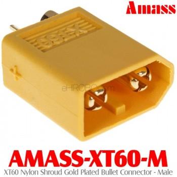 Amass (AMASS-XT60-M) XT60 Nylon Shroud Gold Plated Bullet Connector - Male
