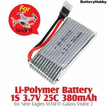 BatteryHobby (BA-37-25-380-NE) Li-Polymer Battery 1S 3.7V 25C 380mAh for Nine Eagles MASF11 Galaxy Visitor 2