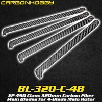 CarbonHobby (BL-320-C-4B) EP 450 Class 320mm Carbon Fiber Main Blades for 4-Blade Main Rotor