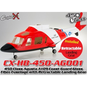 CopterX (CX-HB-450-AG001) 450 Class Agusta A109 Coast Guard Glass Fiber Fuselage with Retractable Landing Gear (Red Black with White Stripe)CopterX 450 Class Fuselage