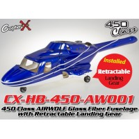 CopterX (CX-HB-450-AW001) 450 Class AIRWOLF Glass Fiber Fuselage with Retractable Landing Gear (Blue White)