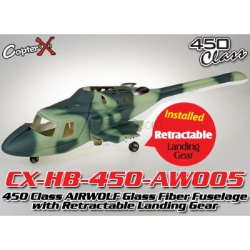 CopterX (CX-HB-450-AW005) 450 Class AIRWOLF Glass Fiber Fuselage with Retractable Landing Gear (Green Camouflage)CopterX 450 Class Fuselage