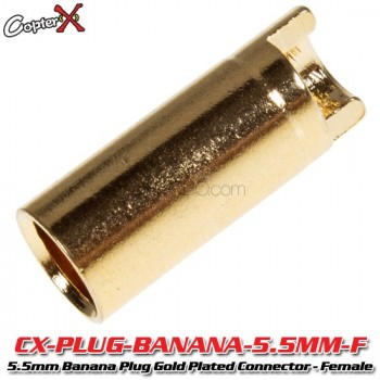 CopterX (CX-PLUG-BANANA-5.5MM-F) 5.5mm Banana Plug Gold Plated Connector - FemalePlug and Wire