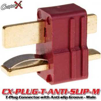 CopterX (CX-PLUG-T-ANTI-SLIP-M) T-Plug Deans Style Connector with Anti-slip Groove - MalePlug and Wire