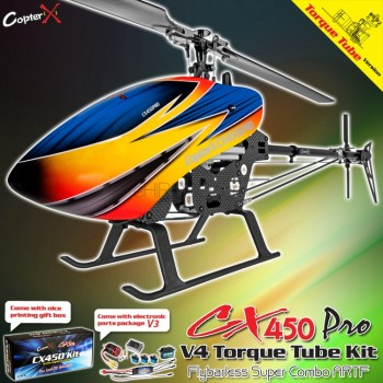 CopterX CX 450PRO V4 Flybarless Torque Tube Version Super Combo ARTFCopterX Helicopters