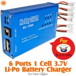 HobbyTiger 6 Ports 1S 3.7V Nine Eagles Li-Po Battery Charger