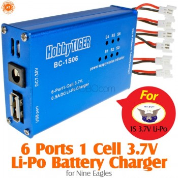 HobbyTiger (HOBBYTIGER-BC-1S06-NE) 6 Ports 1 Cell 3.7V Li-Po Battery Charger for Nine Eagles