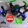 Hubsan (HS-H107C-BG-M1) X4 LED Version 6 Axis Gyro 4CH Mini Quadcopter with Video Camera and Rotor Blades Protection Cover RTF (Black Green, Mode1) - 2.4GHz
