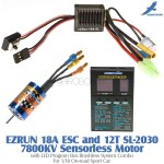 Hobbywing EZRUN 18A ESC and 12T SL-2030 7800KV Sensorless Motor with LED Program Box Brushless System Combo for 1/18 On-road Sport Car