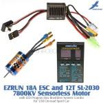 Hobbywing EZRUN 18A ESC and 12T SL-2030 7800KV Sensorless Motor with LED Program Box Brushless System Combo for 1/18 On-road Sport Car
