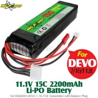 MG Power (MG-111-15-2200-TX-BP) 11.1V 15C 2200mAh Li-PO Battery for WALKERA DEVO 7, 10, F12E Transmitter with Balance Plug