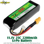 MG Power (MG-111-25-2200-XT60) 11.1V 25C 2200mAh Li-Po Battery with XT60 Plug for WALKERA Runner 250 and Mini Racing Drone