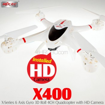 MJX RC (MJX-X400-C4002-W) X400 X-Series 6 Axis Gyro 3D Roll 4CH Quadcopter with HD Camera RTF (White) - 2.4GHz