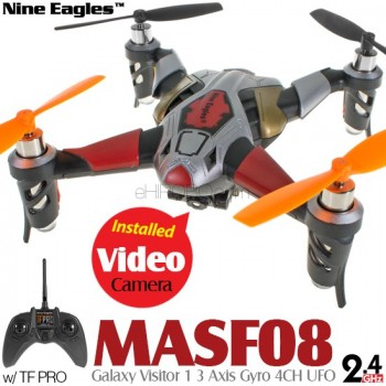 Nine Eagles (NE-MASF08-S) Galaxy Visitor 1 3 Axis Gyro 4CH UFO with Video Camera and TF PRO Transmitter RTF (Silver, Mode 2) - 2.4GHzNine Eagles