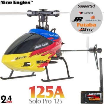 Nine Eagles (NE-R/C-125A-SOLO-PRO-RY-GL) SOLO PRO 125 6CH Flybarless Micro Helicopter with General Link ARTF (Red-Yellow) - 2.4GHzNine Eagles Helicopters