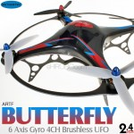 Skyartec (MC01-2) BUTTERFLY 6 Axis Gyro 4CH Brushless UFO without Transmitter and Receiver ARTF - 2.4GHz