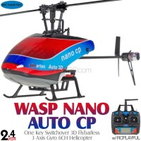 Skyartec (MNH04-1) WASP NANO AUTO CP One Key Switchover 3D Flybarless 3 Axis Gyro 6CH Helicopter with RCPLAYFUL Transmitter RTF - 2.4GHz