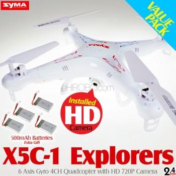 SYMA (SM-X5C-1-M2) Explorers 6 Axis Gyro 4CH Quadcopter with HD 720P Camera Value Pack RTF (Mode 2) - 2.4GHz