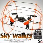 Sky Walker (SW-1306-O-M2) Quadcopter Aerocraft 6 Axis Gyro 4CH UFO with Rolling Shield RTF (Orange, Mode2) - 2.4GHz