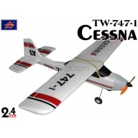 Lanyu (TW-747-1-B-2.4G) 4CH Cessna EPO ARTF Aeroplane (White with Red Stripe Pattern) - 2.4GHz