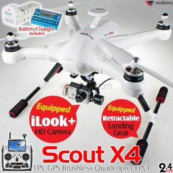 WALKERA (WALKERA-SCOUT-X4-W-FPV1) Scout X4 FPV1 Version FPV GPS Brushless Quadcopter with DEVO F12E Transmitter, iLook+ and Gimbal without Ground Station RTF (White) - 2.4GHz