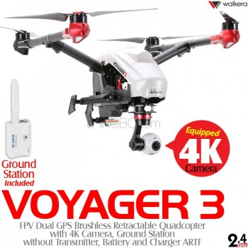 WALKERA (WALKERA-VOYAGER3-W-ARTF) Voyager 3 FPV Dual GPS Brushless Retractable Quadcopter with 4K Camera, Ground Station without Transmitter, Battery and Charger ARTF (White) - 2.4GHz