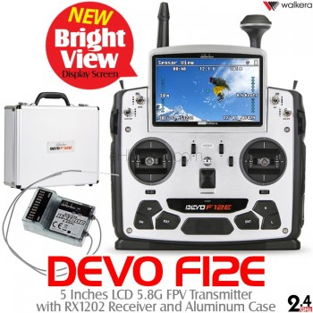 WALKERA (WK-DEVO-F12E-RX1202-BV) DEVO F12E Bright View Version 5 Inches LCD 5.8G FPV Transmitter with RX1202 Receiver and Aluminum Case - 2.4GHz