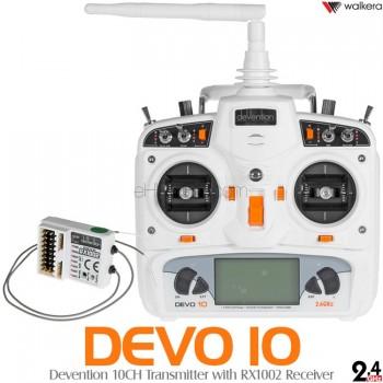 WALKERA (WK-DEVO10-RX1002-W) Devention 10CH Transmitter with RX1002 Receiver (White) - 2.4GHz