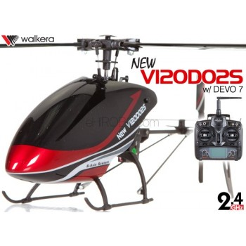 WALKERA NEW V120D02S Flybarless 6-Axis-Gyro System 6CH Helicopter with DEVO 6S,7,8S,10 or 12S Transmitter RTF (Red) - 2.4GHzWalkera Helicopters